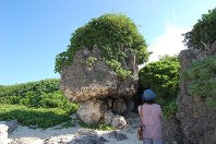 池間島の不動大岩。いくつかの岩の上に巨岩が乗るが、 微動だにしない=沖縄県宮古島市で
