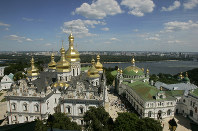 In this July 27, 2008 file photo, the thousand-year-old Monastery of Caves, the holiest site of Eastern Orthodox Christians, against the background of the Dnipro River, in Kiev, Ukraine. (AP Photo/Efrem Lukatsky)