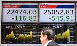 下落する日経平均株価とニューヨーク株価(10月12日、渡部直樹撮影)