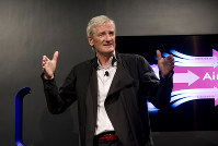 In this Sept., 14, 2011 file photo, Inventor James Dyson launches the Dyson DC41 Ball vacuum and the Dyson Hot heater fan on in New York. (AP Photo/Rob Bennett)