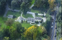 This photo taken from video shows an aerial view of residences and buildings on the compound property of George Soros, on Oct. 23, 2018 in Katonah, N.Y. (WABC 7 via AP)