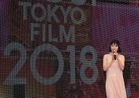 第31回東京国際映画祭のステージに登壇し、あいさつするアンバサダーの女優、松岡茉優さん=東京都港区で2018年10月25日午後3時8分、藤井太郎撮影