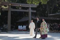 Princess Ayako and Kei Moriya are seen prior to their wedding ceremony at Meiji Jingu Shrine in Tokyo's Shibuya Ward on Oct. 29, 2018. (Mainichi/Daisuke Wada)