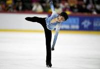 Yuzuru Hanyu of Japan performs during the men's short program at the figure skating ISU Helsinki Grand Prix event in Helsinki, Finland , Saturday Nov. 3, 2018. (Martti Kainulainen/Lehtikuva via AP)