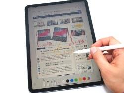 11型のiPadプロ。アップルペンシルの反応はスムーズ