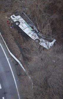 【軽井沢スキーツアーバス事故】国道バイパスで、スキーツアーの大型バスが道路脇の崖下に転落。大学生13人と運転手2人の計15人が死亡、26人が負傷した。写真はガードレールを突き破り、道路脇に転落したバス=長野県軽井沢町で2016年1月15日午前7時25分、本社ヘリから