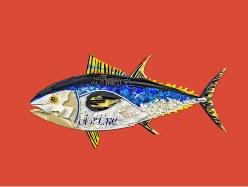 北海の魚をモチーフにした作品。プラスチックごみを使ったワークショップでノルウェーの子供が作製した=Prestgaard/Andersen