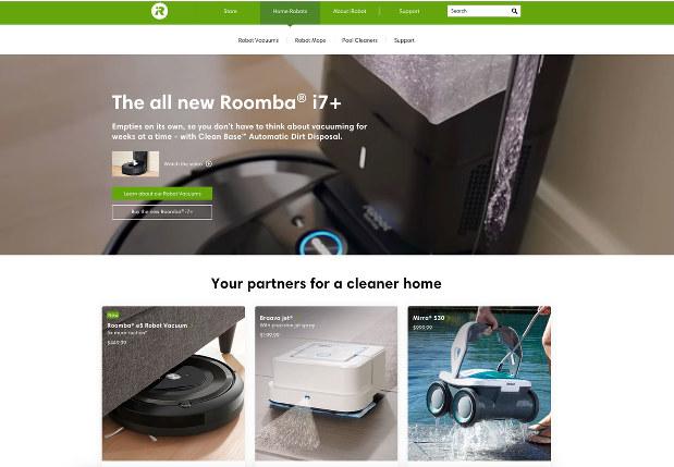 「ルンバ」をはじめ、アイロボットの製品を紹介するホームページ