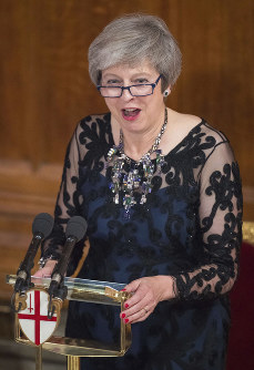 Britain's Prime Minister Theresa May gives a speech during the Lord Mayor's Banquet at the Guildhall in London, on Nov. 12, 2018. (Dominic Lipinski/PA via AP)