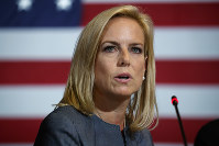 In this May 23, 2018 file photo, Secretary of Homeland Security Kirstjen Nielsen speaks during a roundtable on immigration policy with President Donald Trump at Morrelly Homeland Security Center, in Bethpage, N.Y. (AP Photo/Evan Vucci)