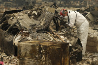 A search and rescue worker searches a car for human remains at a trailer park burned out in a bush fire, on Nov. 13, 2018, in Paradise, Calif. (AP Photo/John Locher)