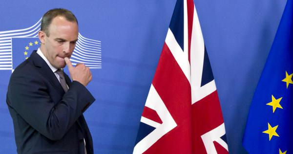In this Aug. 31, 2018 file photo, Britain's Secretary of State for Exiting the European Union Dominic Raab waits at EU headquarters in Brussels. (AP Photo/Virginia Mayo)