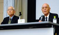会場からの質問に答える居森公照さん(右)と鎌田七男さん=広島市中区の原爆資料館で、高山梓撮影