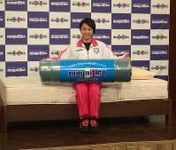 「マニフレックス」アドバイザーに就任した体操女子の村上茉愛=東京都港区で2018年11月16日午前11時59分、円谷美晶撮影