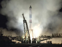 In this photo distributed by Roscosmos Space Agency Press Service on Nov. 16, 2018, Russian cargo ship Souz FG with the Progress MS-10 takes off from the launch pad at Russia's main space facility in Baikonur, Kazakhstan. (Roscosmos Space Agency Press Service photo via AP)
