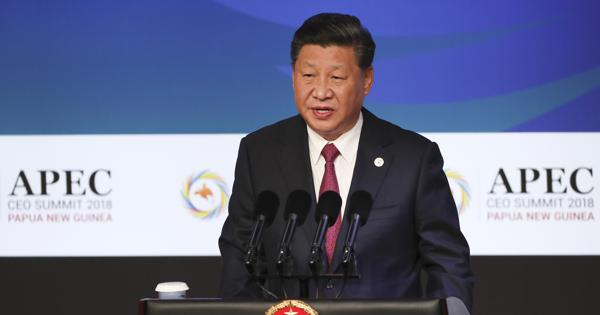 China's President Xi Jinping speaks during the APEC CEO Summit 2018 in Port Moresby, Papua New Guinea, on Nov. 17, 2018. (Fazry Ismail/Pool Photo via AP)