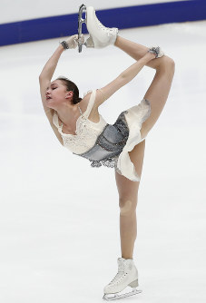 Alina Zagitova of Russia performs in the ladies short program during the ISU Grand Prix of Figure Skating Rostelecom Cup in Moscow, Russia, on Nov. 16, 2018. (AP Photo/Pavel Golovkin)