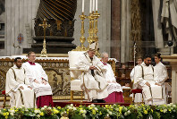 Pope Francis celebrates a mass in St. Peter basilica at the Vatican, on Nov. 18, 2018. (AP Photo/Andrew Medichini)