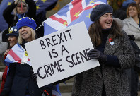 Anti Brexit campaigners demonstrate at Westminster in London, on Nov. 19, 2018. (AP Photo/Kirsty Wigglesworth)