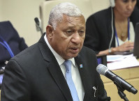 In this Sept. 26, 2018 file photo, Fiji Prime Minister Voreqe Bainimarama addresses to promote the elimination of nuclear weapons, during the United Nations General Assembly, at U.N. headquarters. (AP Photo/Bebeto Matthews)