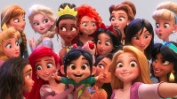 This image released by Disney shows the character Vanellope von Schweetz, voiced by Sarah Silverman, foreground center, posing for s selfie with Disney princesses in a scene from