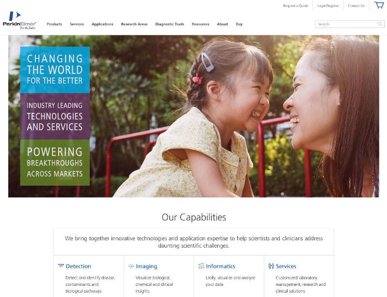 数多い自社製品・サービスを解説するパーキンエルマーのホームページ