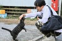 「この子は甘えん坊なんです」=東京都内で岡本同世撮影