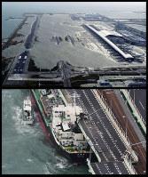 毎日新聞写真部の「台風21号 関空大打撃」(2枚組み)が関西写真記者協会の協会賞を受賞。今年9月4日、台風21号の高潮で浸水した関西国際空港と、連絡橋に衝突したタンカーを本社ヘリから幾島健太郎記者が撮影した