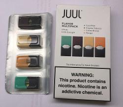 マンゴーやミントなどの味が付いた「風味付き液体電子たばこ」 筆者撮影