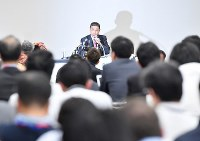 Nissan Motor Co. President Hiroto Saikawa speaks to reporters at a news conference in Yokohama's Nishi Ward, on Nov. 19, 2018, following the arrest of company chairman Carlos Ghosn. (Mainichi/Toshiki Miyama)