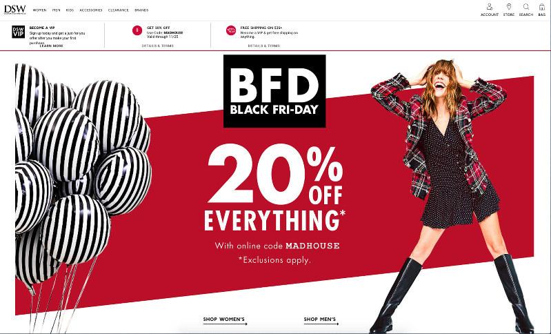 ブラックフライデー(米国で始まった11月の大型セール)時のDSWホームページ