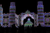 Displays are lit up for a test run ahead of Kobe Luminarie in the city's Chuo Ward, Hyogo Prefecture, on Dec. 3, 2018. (Mainichi/Rei Kubo)