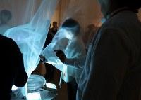 「ここから3」で体験できる「エコー・プロジェクト」=東京都港区の国立新美術館で2018年12月5日、岡本同世撮影