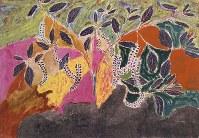「ここから3」で展示されている丸木スマの作品「山ごぼう」=1951年制作、原爆の図丸木美術館提供