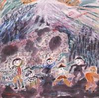 「ここから3」で展示されている丸木スマの作品「一粒百万倍」。所蔵する丸木美術館の岡村幸宣学芸員は「スマさんの自由な物の見方や表現は、学校教育を受けていないことの影響も大きい」と語る。「彼女に取って生きることと世界をつかみとることはイコール。70歳を過ぎるまで持ち続けてきた感性が、表現する機会と出会って吹き出し、作品になった」=1950年制作、原爆の図丸木美術館提供