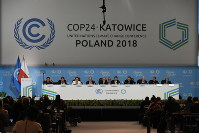 The Intergovernmental Panel on Climate Change holds a meeting about the global warming of 1.5 degrees Celsius at the 24th Conference of the Parties to the United Nations Framework Convention on Climate Change (COP24), in Katowice, southern Poland, on Dec. 4, 2018. (Mainichi/Kazuhiro Igarashi)