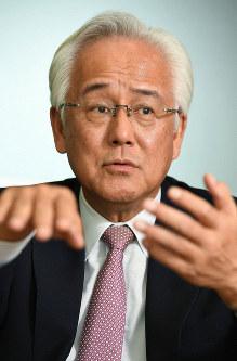 JIC President and CEO Masaaki Tanaka speaks in an interview with the Mainichi Shimbun on Oct. 16, 2018. (Mainichi/Akinori Miyamoto)