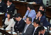 Legislators look exhausted during deliberations on a bill to revise the Immigration Control and Refugee Recognition Act at a House of Councillors plenary session on Dec. 8, 2018. (Mainichi/Naoaki Hasegawa)