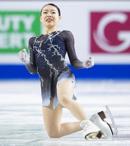 Rika Kihira, of Japan, celebrates her performance in the ladies free skate at the Grand Prix of Figure Skating finals in Vancouver, British Columbia, on Dec. 8, 2018. (Jonathan Hayward/The Canadian Press via AP)