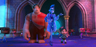 This image released by Disney shows characters, from left, Ralph, voiced by John C. Reilly, Yess, voiced by Taraji P. Henson and Vanellope von Schweetz, voiced by Sarah Silverman in a scene from