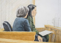 In this courtroom sketch, Meng Wanzhou, right, the chief financial officer of Huawei Technologies, sits beside a translator during a bail hearing at British Columbia Supreme Court in Vancouver, on Dec. 7, 2018. (Jane Wolsak/The Canadian Press via AP)