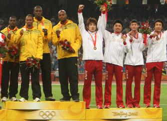 北京男子400リレー、日本銀に繰...