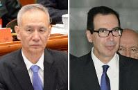 This combined photo shows Chinese Vice Premier Liu He, left, and U.S. Treasury Secretary Steven Mnuchin. (Kyodo)