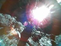 小型探査ロボットが10月26日に撮影した小惑星リュウグウの表面の画像。白く光るのは太陽=宇宙航空研究開発機構提供