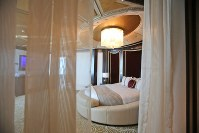 This May 19, 2014, file photo shows the master bedroom in the Abu Dhabi Suite at the St. Regis in Abu Dhabi, United Arab Emirates. (AP Photo/Kamran Jebreili)