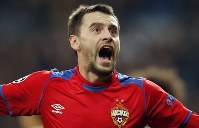 CSKA defender Georgi Schennikov celebrates after scoring his side's second goal during the Champions League, Group G soccer match between Real Madrid and CSKA Moscow, at the Santiago Bernabeu stadium in Madrid, Spain, on Dec. 12, 2018. (AP Photo/Paul White)