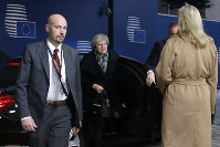British Prime Minister Theresa May arrives for an EU summit in Brussels, on Dec. 14, 2018. (AP Photo/Alastair Grant, Pool)