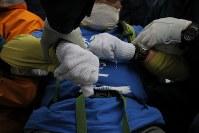 米軍普天間飛行場移設のための工事が進むキャンプシュワブのゲート前で、座り込んで埋め立てに抗議の声を上げるなか、排除しようとする警察官につかまれる男性=沖縄県名護市で2018年12月13日午後12時7分、和田大典撮影