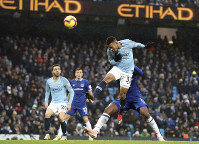 Manchester City's Gabriel Jesus scores his side's second goal of the game during the English Premier League soccer match between Manchester City and Everton at the Etihad Stadium, Manchester, England. Saturday Dec. 15, 2018. (Martin Rickett/PA via AP)