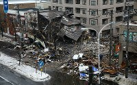 The site where an explosion occurred the previous night is seen in Sapporo's Toyohira Ward on Dec. 17, 2018. (Mainichi/Taichi Kaizuka)
